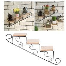 American Rural Creative Staircase Shape Cafe Clothing Store Wall Decoration Wall Hanging Flower Shelf Wall Mount цена 2017