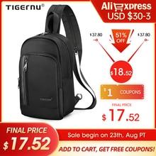 Tigernu-고품질 USB 충전 9.7 인치 iPad 남성용 스플래시 방지 크로스 바디 가방, 패션 캐주얼 메신저 가방, 가슴 가방