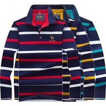 High Quality Autumn Spring Mens POLO Shirt Male Turn-down Collar Cotton Polo Shirt Men Long Sleeve Stripes Embroidered  8805 недорого