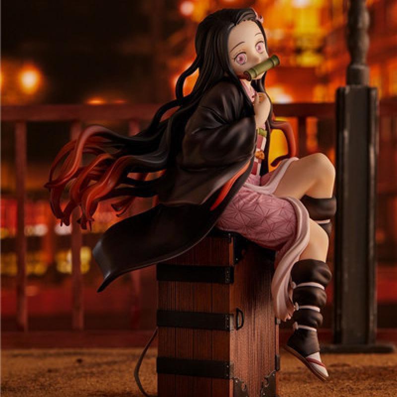 Devil's Blade Anime Figure Tanjirou Nezuko Demon Slayer PVC BackPack Action Figure Collectible Model Toys Dolls Decoration