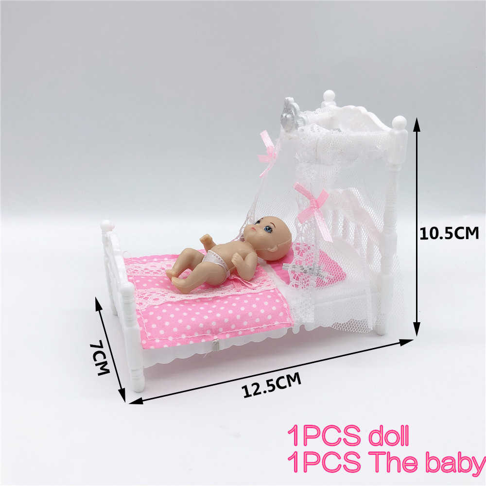 Plastic Cot Bed with Bed Net Doll Accessories Cute Bed Girls Dollhouse Furniture for Barbies Dolls Baby Toy Gift Funny Cute Pink