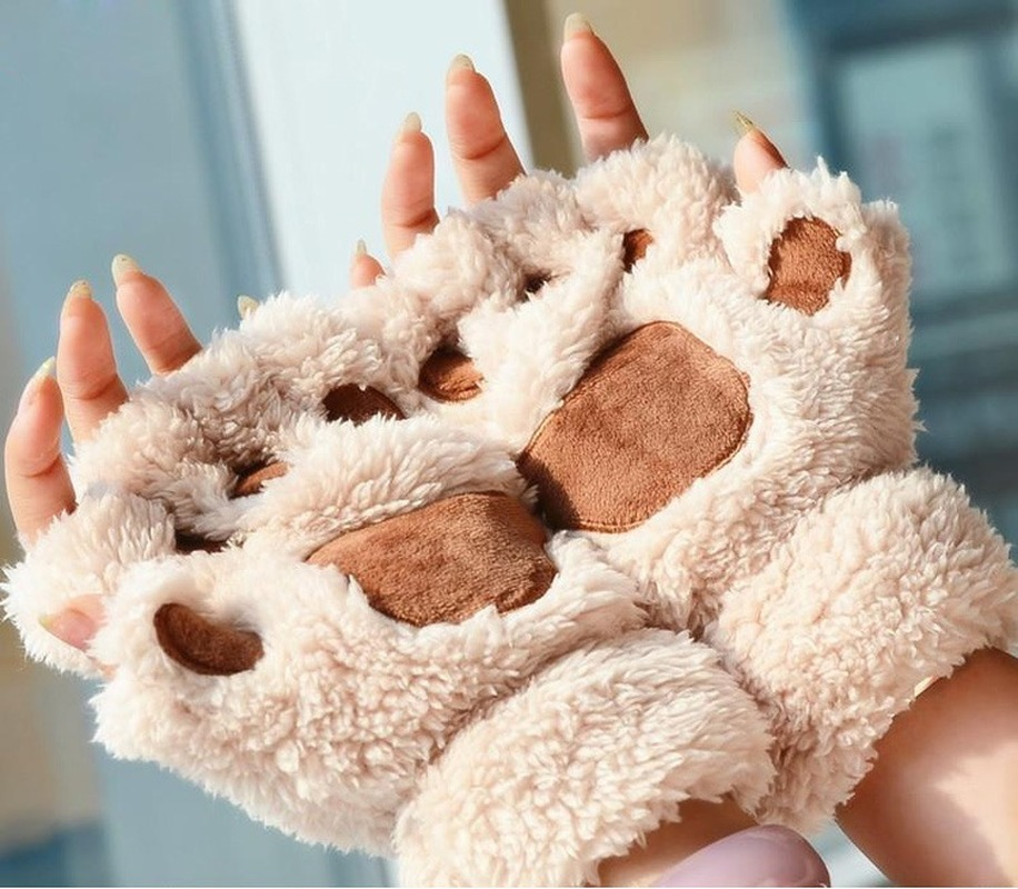 Women Cute Cat Claw Paw Plush Mittens Warm Soft Plush Short Fingerless Fluffy Bear Cat Gloves Costume Half Finger Black Beige-85