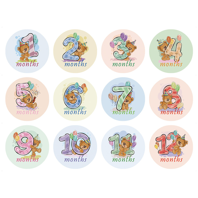 12 Pcs Month Sticker Baby Photography Milestone Memorial Monthly Newborn Kids Commemorative Cards Number Photo Props Accessories