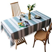 Striped Decorative Linen Tablecloth With Tassel Lace Waterproof Oilproof Rectangular Wedding Dining Table Cover Tea Tablecloths