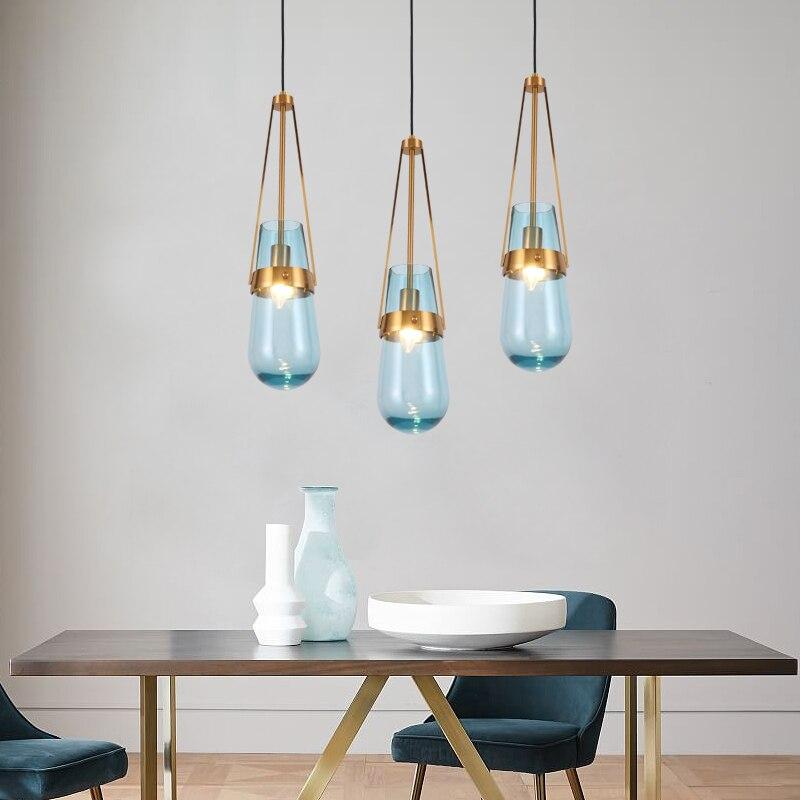 Современный минималистичный стеклянный светодиодный подвесной светильник с железной одной головкой для столовой, спальни, прикроватная Подвесная лампа, декор для столовой, освещение