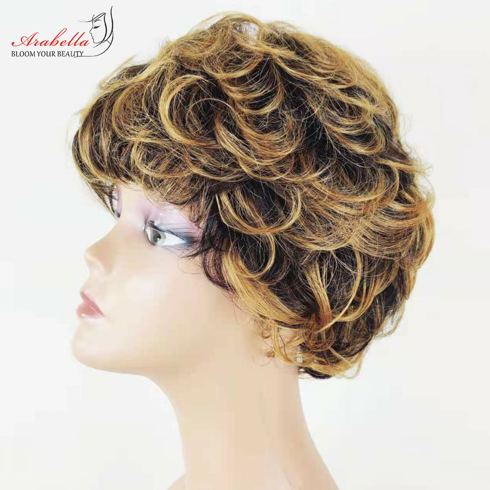 Curly Wig Ombre Hair Glueless Wig 100%  Wigs Pixie Cut Wig  Highlight Arabella  Hair Wig With Bangs 2