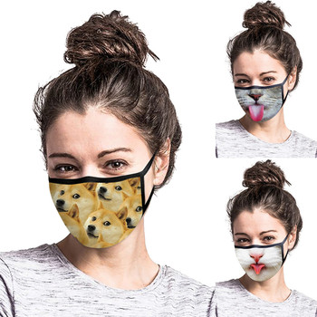 1PC Dog Cat Print Cute Dust Face Masks Adult Outdoor Masque Haze Proof Protective Mask Washable Mouth Mask Reusable Face Shield