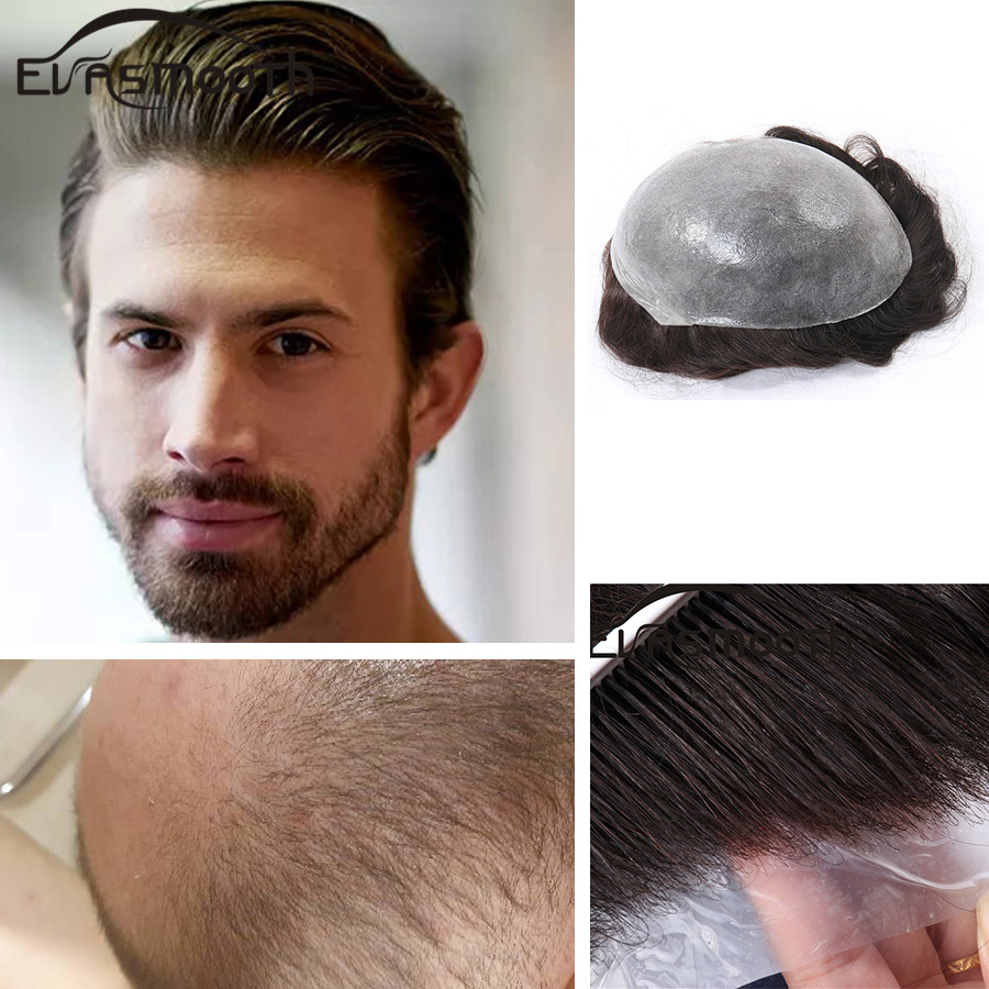 Real Indian Hair Men Toupee Human Hair Transparent Pu Mens Wigs Replacement Systems Hair Extension Wigs Protesis Capilar Hombre