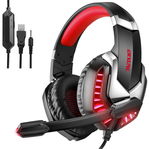 SEC New Wired Headset Gamer PC 3.5mm PS4 Headsets Surround Sound LED Light & HD Microphone Gaming Overear Laptop Tablet Gamer