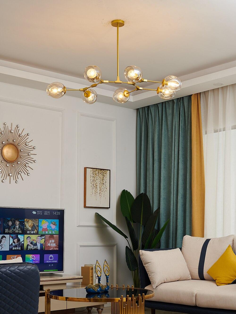 Modern Led Chandelier Ball-Lamp Pendant Glass Ceiling-Decor Bedroom Metal