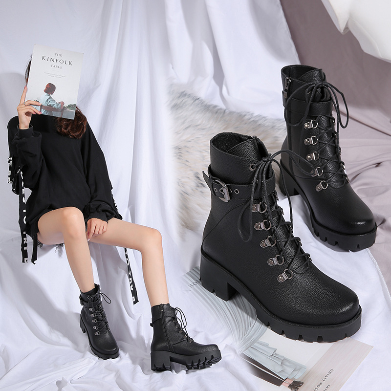 2019 New Style Lace-up Martin Boots Women's Small 3233 Large Size 4243 Chunky-Heel Short Boots Winter Plus Velvet Plus-sized Mot