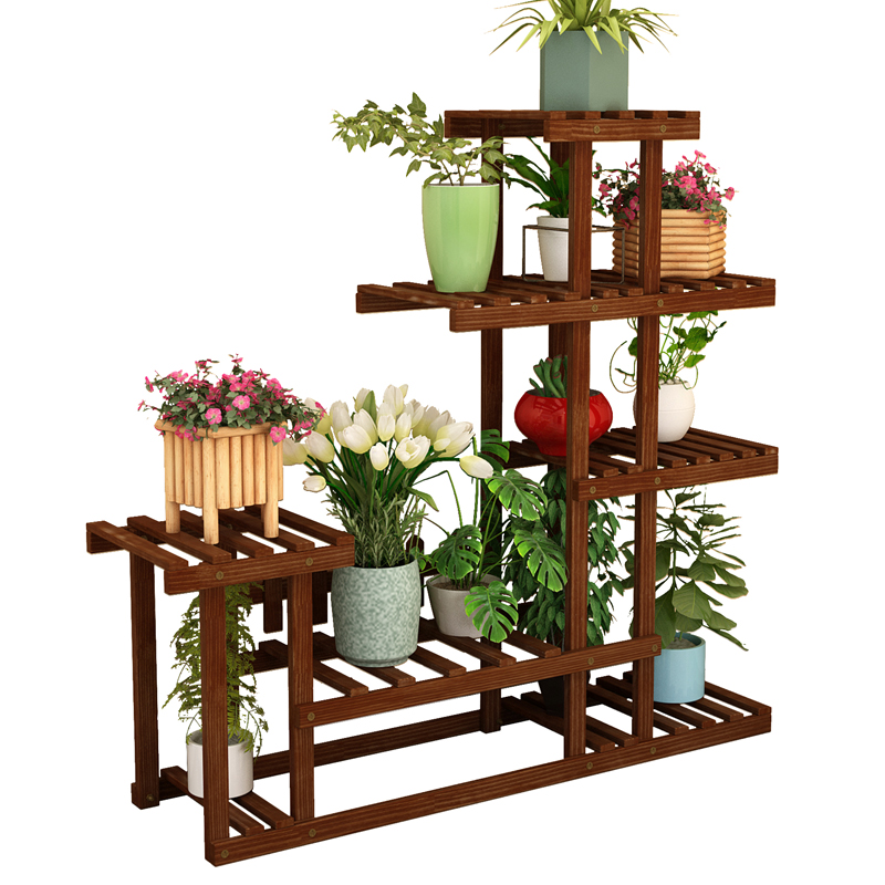 Balcony Flower Shelf Indoor Multi-layer Solid Wood Living Room Home Racks Meaty Green Flower Pots Decorative Plant Stand