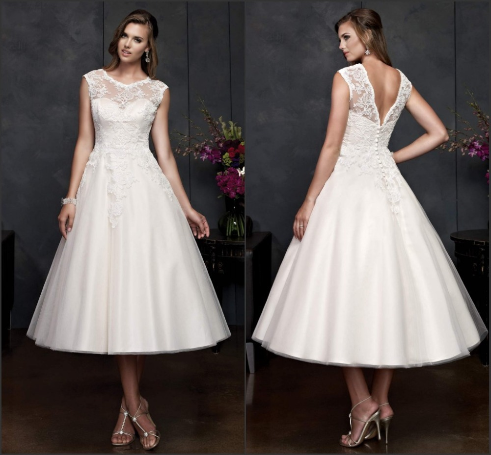 Amazing New Ankle Length Short Wedding Dress Lace Designer