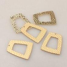 6 unids/lote oro de aleación de Zinc de encantos colgante hueco geométrico Trapezoidal encantos para el bricolaje pendientes accesorios de fabricación de la joyería