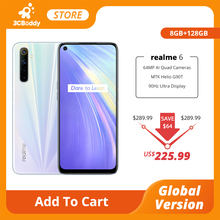 realme 6 Global Version Mobile Phone 8GB RAM 128GB ROM 90Hz Display 4300mAh Helio G90T 30W Flash Charge NFC 64MP AI Quad Cameras