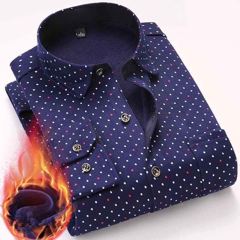 Fashion Men's Print Plaid Warm Thick Velvet Fleece Shirts Winter Long Sleeve Dress Shirt For Men Soft Flannel Camisa Masculina