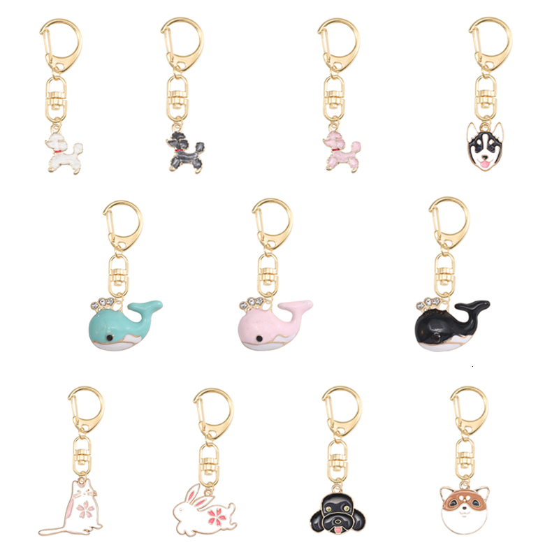 DIY Cute Cartoon Keychain For Women Girl Dog Whale Rabbit Animal Pendant Multicolor Metal Key Ring Lovely Jewellery Gifts 2019