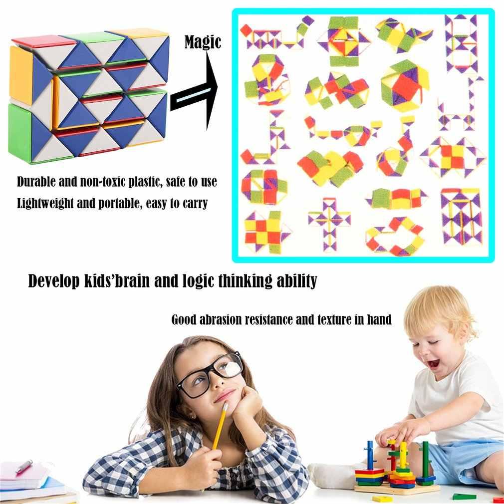 Kostka 3D 24 bloki wąż magiczna gra układanka Twist zabawka prędkość magiczna kostka zabawna rodzina dzieci gra edukacyjna zabawki prezent