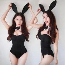 Sexy e bonito coelho menina cosplay roleplay alta qualidade trajes pretos com alças invisíveis adicionais são mais elegantes q147