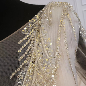 Image 5 - HTL1235 2020 งานแต่งงาน Boho แขนยาวภาพลวงตา V คอเลื่อมลูกปัดลูกไม้ UP sparkly งานแต่งงาน Robe de mariée bohème