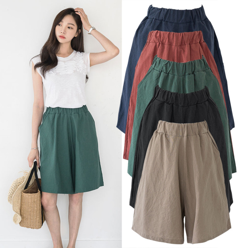 S-8XL Fashion Cotton Shorts Women's Spring Summer Simple Elastic Waist Loose Five Points Short Trouser Plus Size Shorts