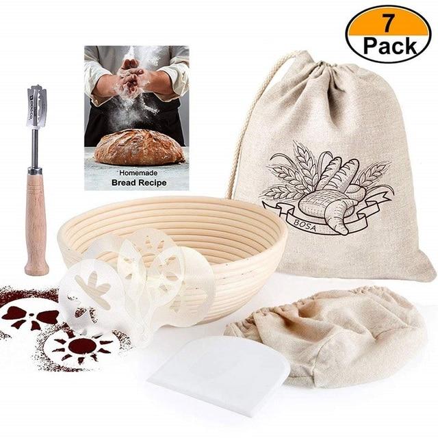 9 Inch Round Fermentation Rattan Basket Country Bread Baguette Dough Banneton Brotform Proofing Proving Baskets 7 Pack Set