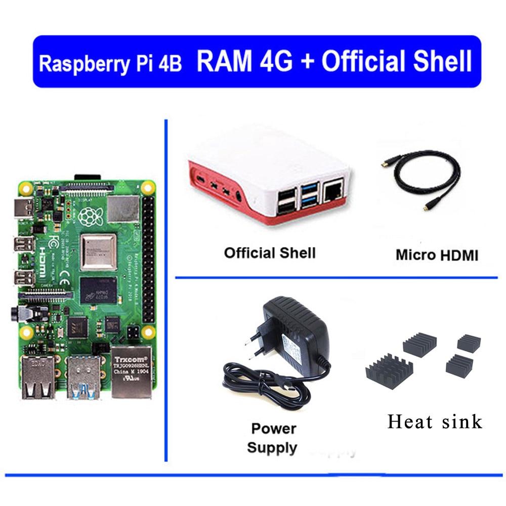 Original Raspberry Pi 4 Model B 4B With RAM 4GB 1.5GHz 2.4 / 5.0 GHz WIFI Bluetooth 5.0 Case Cooling Heatsink Power Supply 2019