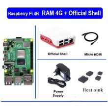 Original raspberry pi 4 modelo b 4b com ram 4gb 1.5ghz 2.4 / 5.0 ghz wifi bluetooth 5.0 caso de refrigeração do dissipador de calor fonte de alimentação 2019