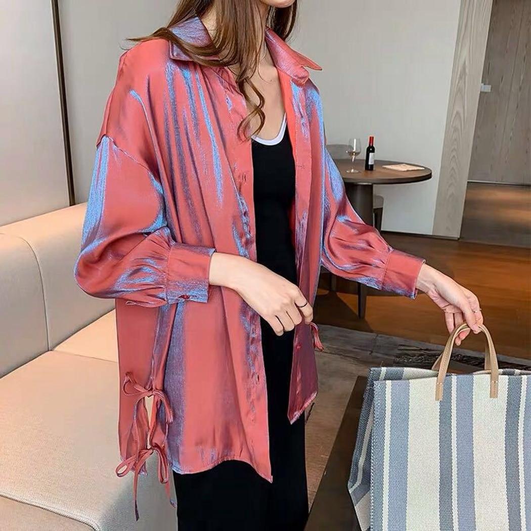 2019 New Fashion Design Casual Shiny Vintage Shirts Women Loose Streetwear Chiffon Blouses Party Club Oversized Tops Shirt Femme