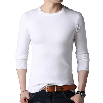 BROWON Brand Men Autumn Sweater Men's Long Sleeve O-Neck Slims Sweater Male Solid Color Business White Sweater Oversize M-4XL 1