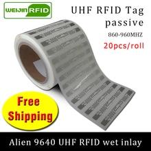 UHF RFID метка наклейка Alien 9640 влажная инкрустация 915m868 860-960 МГц Higgs3 EPC 6C 20 шт самоклеющаяся Пассивная RFID этикетка