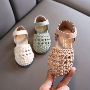 Детские римские сандалии для малышей; Обувь принцессы для маленьких девочек; Baotou; Пляжные сандалии с перфорацией; Новинка; Лето 2020; 1, 2, От 4 до...