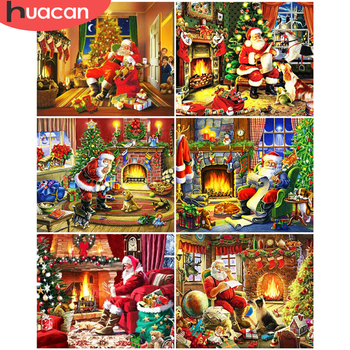HUACAN Oil Painting By Number Santa Claus Drawing On Canvas Pictures By Numbers Christmas Kits Hand Painted Paintings Home Decor