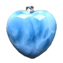En doğal mavi Larimar kalp kolye takı kadın erkek 29x10mm boncuk gümüş dominika kristal su desen taş AAAAA
