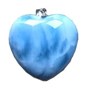 Image 1 - Top Natural Blue Larimar Hart Hanger Sieraden Voor Vrouw Man 29X10Mm Kralen Zilveren Dominica Crystal Water Patroon gemstone Aaaaa