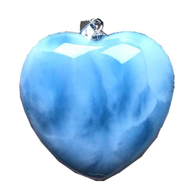Top Natural Blue Larimar Hart Hanger Sieraden Voor Vrouw Man 29X10Mm Kralen Zilveren Dominica Crystal Water Patroon gemstone Aaaaa