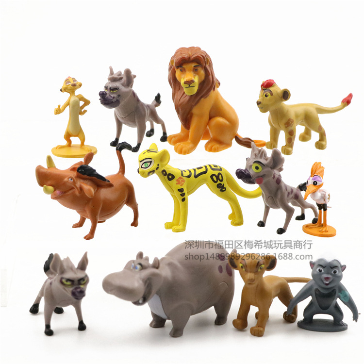 12 pçs dos desenhos animados o leão guarda rei kion simba pvc figuras de ação bunga beshte fuli ono figurinhas boneca crianças brinquedos para crianças meninos|Figuras de ação|   -