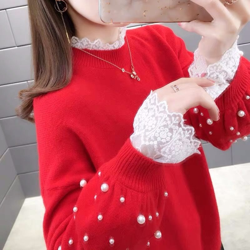 Lace Diamond Knitted Sweater Women Round Neck Fake Two Loose Pullover Stitching Sweaters Female 2020 Autumn Winter Floral Girl