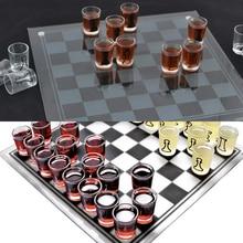 Международный шахматный набор, интерактивные стеклянные шахматы, настольная игра для напитков, изысканное качество изготовления развлече...