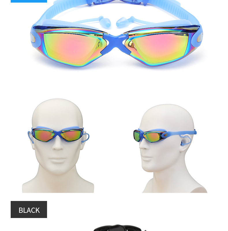 Óculos de natação profissionais adultos com tampões