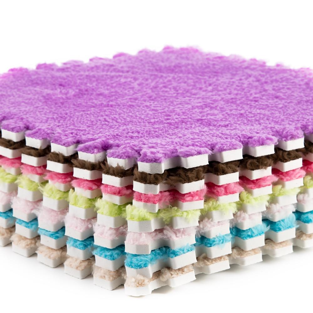 10 Pieces / Soft 30*30 Cm Children Plush Carpet Parquet Floor Puzzle Carpet Baby Game Pad Crawling Mat Baby Play Mat