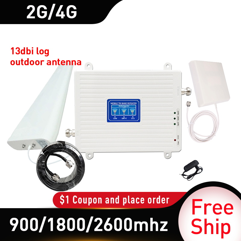 13dbi Antenna 900/1800/2600mhz GSM DCS  LTE 4G Tri-Band Signal Repeater GSM Gain 70db Cellular Mobile Signal Booster 4GAmplifier