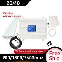 Antena 13dbi 900/1800/2600mhz GSM DCS LTE 4G trójpasmowy regenerator sygnału GSM zysk 70db komórkowy wzmacniacz sygnału komórkowego 4 gamplsmoczek