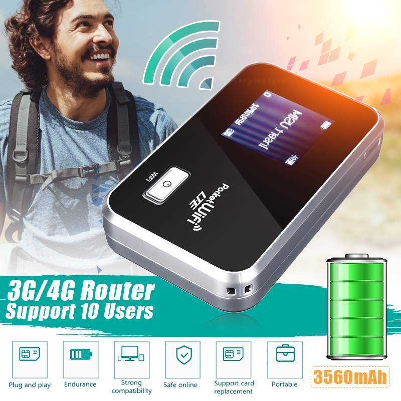 Portable 2G/3G/4G Mobile WiFi Wireless Pocket Hotspot Router Broadband 3560mAh Long Standby Time