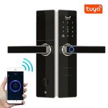 Tuya Wifi kapı kilidi Fechadura dijital, akıllı kapı kilidi uzaktan kumanda ile kontrol, parmak izi, şifre, RFID kart kilidi