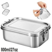 Stainless Steel Lunch Food Container with Lock Clips and Leakproof Design, 800ML Bento Boxes Lunch Container for Kids or Adults-(China)