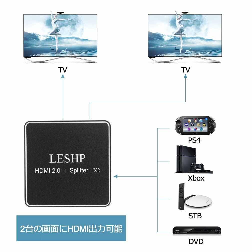 1080P HDMI 2.0 1x2 Splitter obsługuje Full HD 4x2K 3D jedno wejście do dwóch wyjścia obsługuje Format wideo do 4k2k