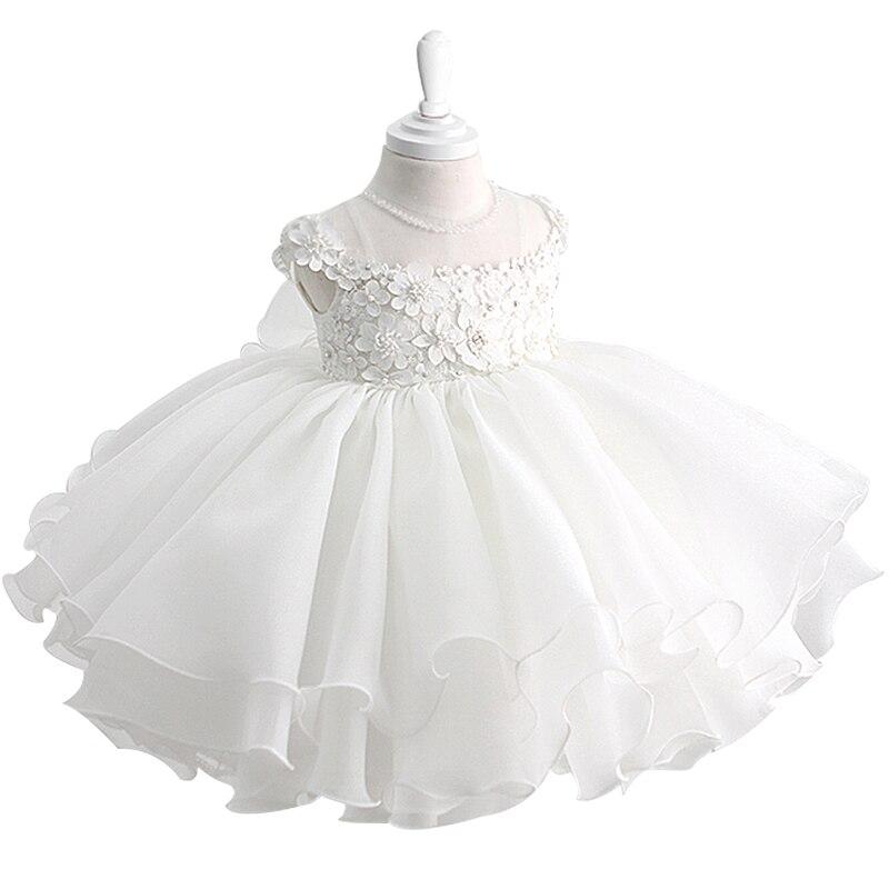 Beading White Lace Baby Girl Dress 1 Year Birthday Dress Sleeveless Infant Newborn Party Vestidos Baby Girl Christening Gown