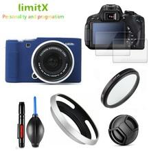 طقم حماية واقي للشاشة حافظة كاميرا حقيبة UV فلتر عدسة معدنية هود للكاميرا Fujifilm X A7 XA7 بعدسة 15 45 مللي متر