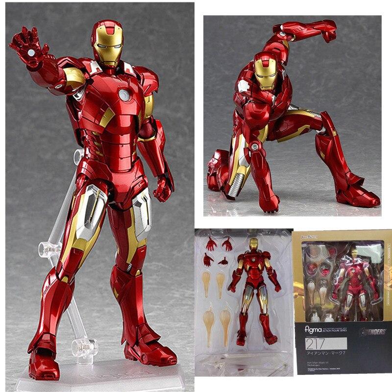 Avengers Iron Man Figma 217# Iron Man Tony Super  PVC Action Figures Model Toys Gift Doll 16CM